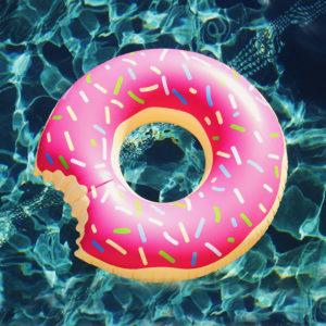 donut ciambella gonfiabile rosa mare piscina
