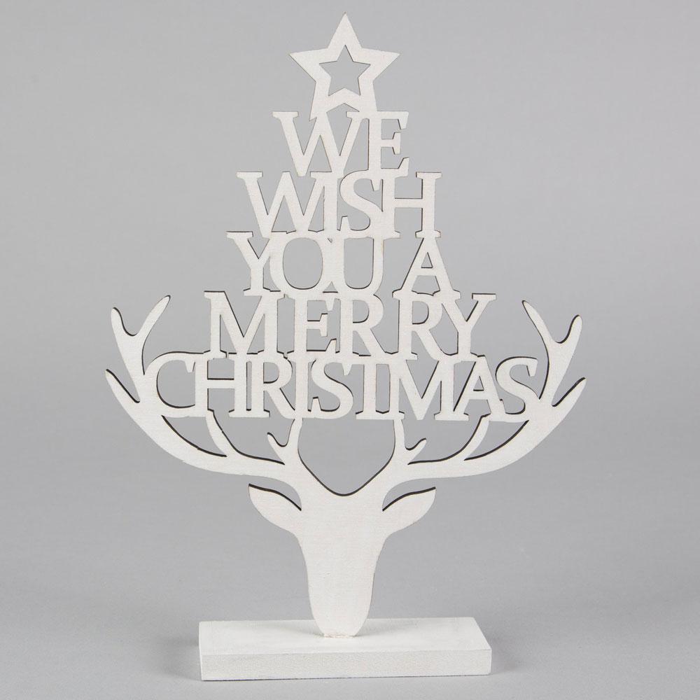 Decorazione natalizia a forma di cervo di legno merry for Decorazione waffel