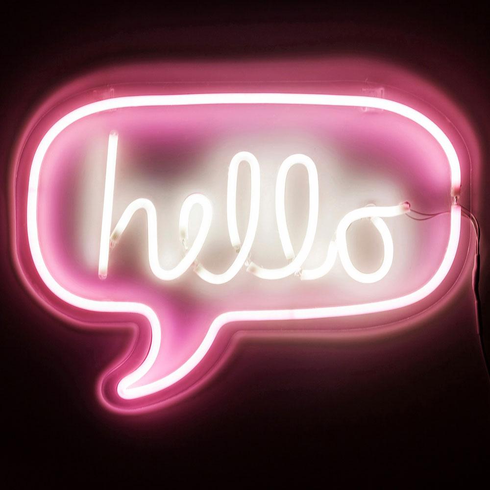 Lampade Al Neon Da Parete lampada hello: neon da parete con fumetto e scritta rosa