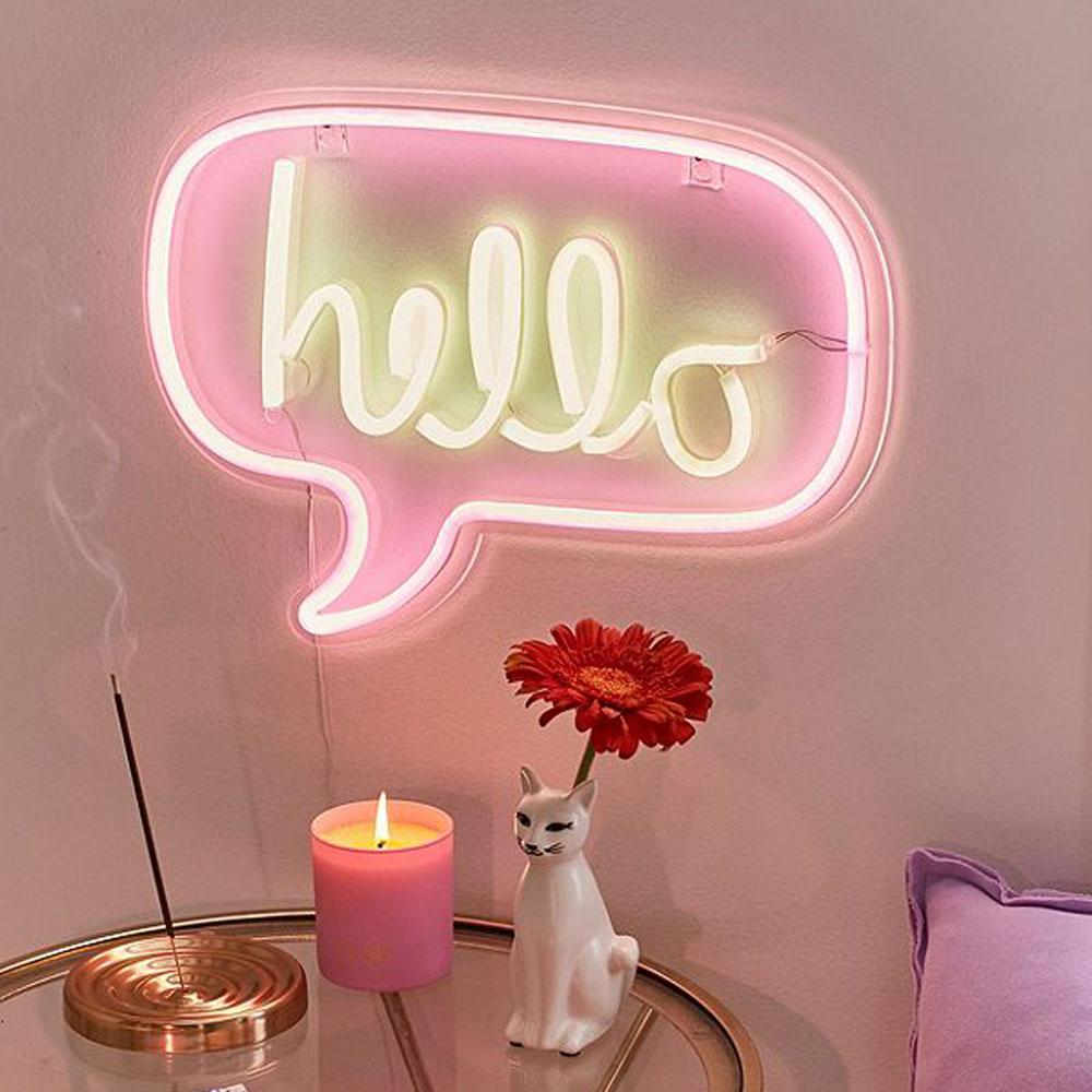 lampada hello neon fumetto goolp