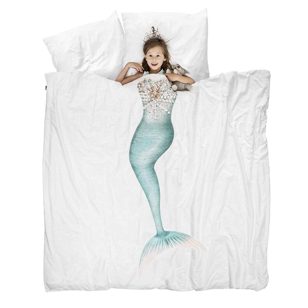 Letto Bambina Una Piazza E Mezza.Copripiumino Sirena Snurk Bedding Set Letto Da 1 Piazza E Mezzo Con Federe